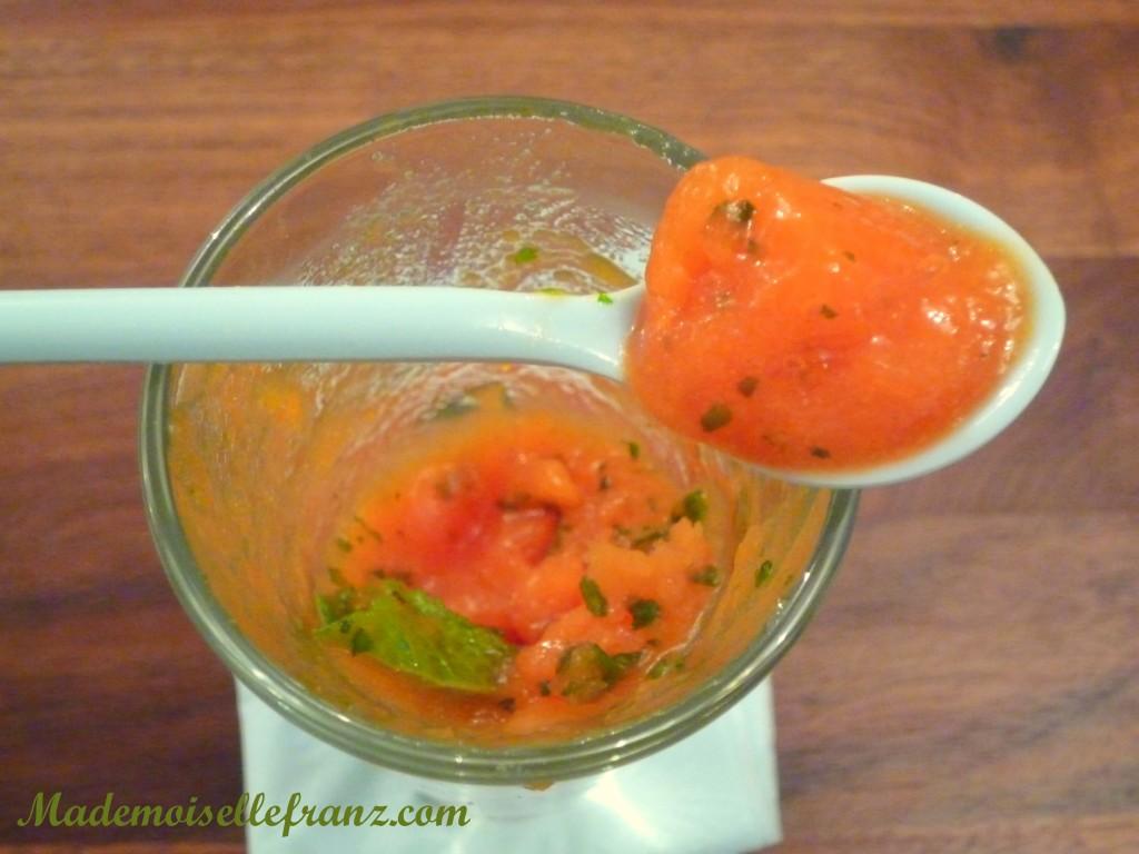 Sorbet-granité à la papaye et à la menthe