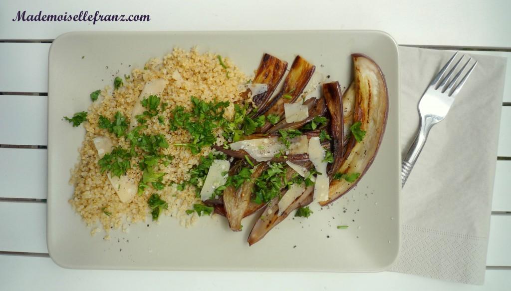 Aubergines et quinoa