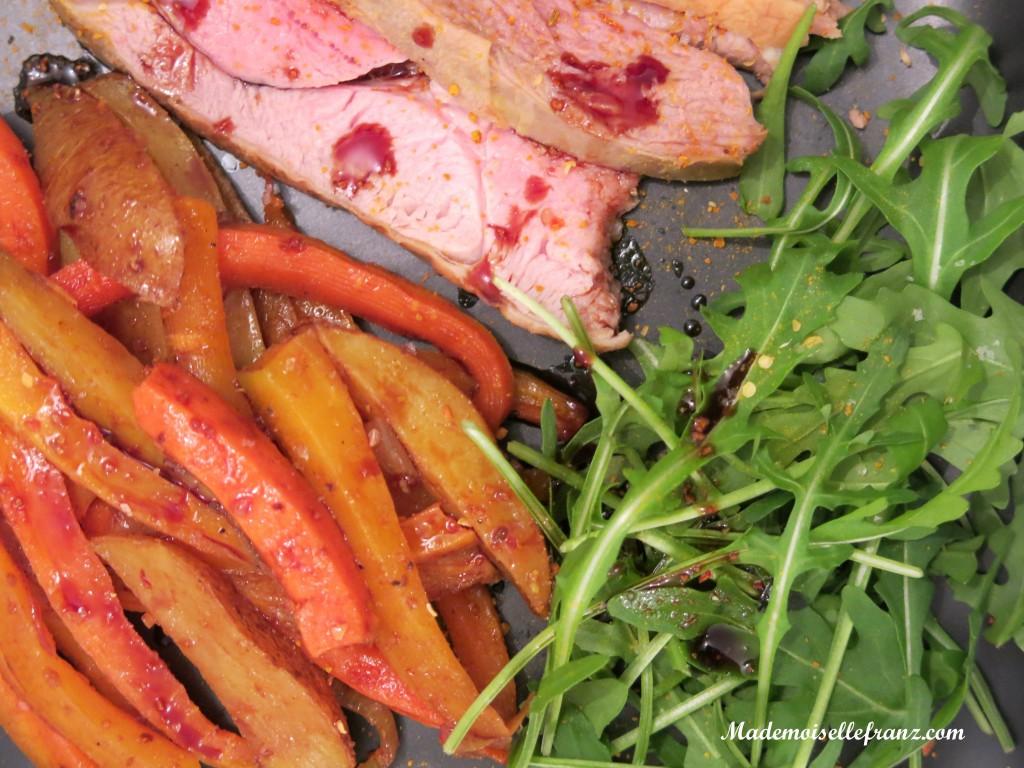 Filet d'agneau au miel et ses légumes rôtis